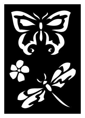 """CREATEX Tattoo Stencil """"Butterfly and Dragonfly"""" self-adhesive approx. 7 cm x 10 cm"""