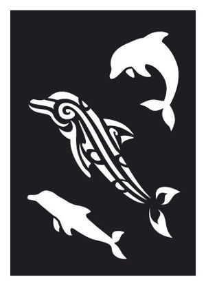 "CREATEX Tattoo Stencil ""Dolphin"" self-adhesive approx. 7 cm x 10 cm"