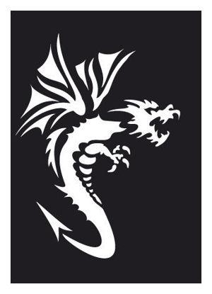 "CREATEX Tattoo Stencil ""Dragon 2"" self-adhesive approx. 7 cm x 10 cm"
